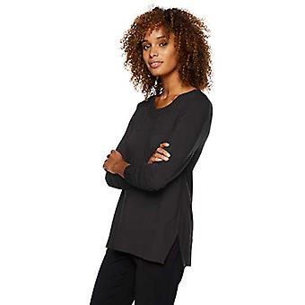 Lark & Ro Frauen's Langarm Crewneck Side-Slit Pullover, schwarz, Mittel