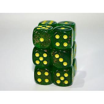 Chessex Chessex 16mm D6 x 12 Dice Set - Borealis Maple Green / yellow