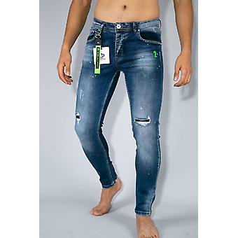 Ripped Pants With Paint Drops - Skinny Jeans - Blue