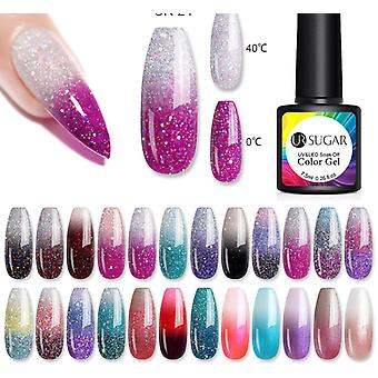 Thermal Glitter Gel Soak Off Uv Gel Polish Temperature Color Changing Varnish Nail Art