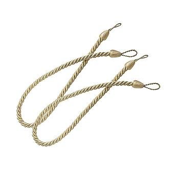 2PCS Braided Curtain Tie Back Window Decoration Beige Yellow