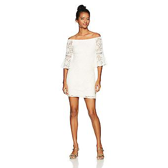 JUMP Junior's Off The Shoulder Lace Dress with Bell Sleeve, Ivory, 11/12