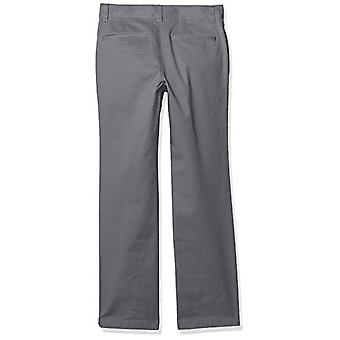 Essentials Boy's Straight Leg Flat Front Uniform Chino Pant, Grey, 7(H)