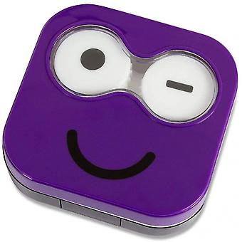 Kontaktlinsenhalter Emoji 6,5 x 6,7 cm Kunststoff violett
