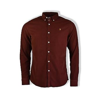 Farah Fontella Long-Sleeved Cord Shirt (Burgundy)