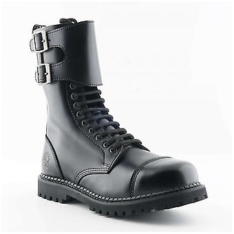 Grinders Unisex Camelot Cs Black Smooth Leather 14 Eye Twin Buckle Derby Boots