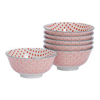 Nicola Spring 6 Piece Geometric Patterned Cereal Bowl Set - Porcelain Breakfast Dessert Serving Bowls - Coral - 16cm