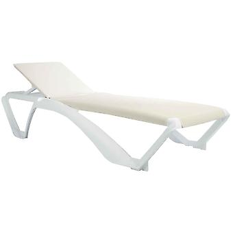Resol Marina Garden Sun Lounger Bed - Adjustable Reclining Outdoor Summer Furniture - White, Beige