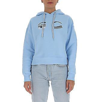 Chiara Ferragni Cff079lbl Femmes-apos;s Light Blue Cotton Sweatshirt