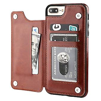 Stoff zertifiziert® Retro iPhone 7 Plus Leder Flip Case Brieftasche - Brieftasche Cover Cas Fall braun