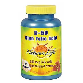 Nature's Life B-Complex High Folic Acid, 50 mg, 100 caps