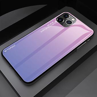 Stoff zertifiziert® iPhone 12 Pro Case Gradient - TPU und 9H Glas - stoßfest glänzende Fall Abdeckung Cas TPU Pink