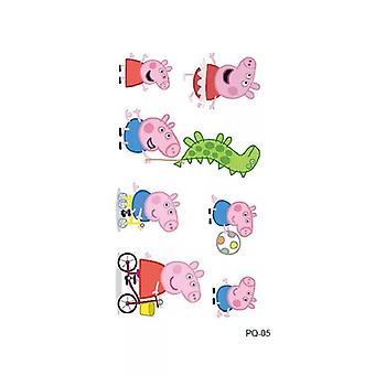 Peppa Pig Tattoo Stickers Cartoon Set, George Family And Friends Waterpoof