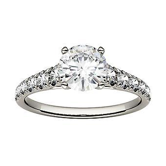 14K Hvid Guld Moissanite af Charles & Colvard 6.5mm Round Engagement Ring, 1.29cttw DEW