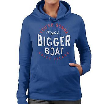 Jaws Du kommer att behöva en större båt Amity Island Women' s Hooded Sweatshirt