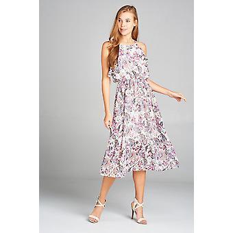 שמלה עם הדפס פרחוני עם קפלים עליון