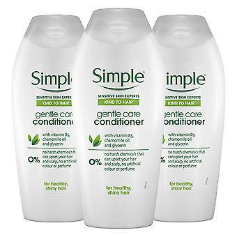 Simple Kind to Hair Gentle Care Conditioner, 3 Packs of 400ml