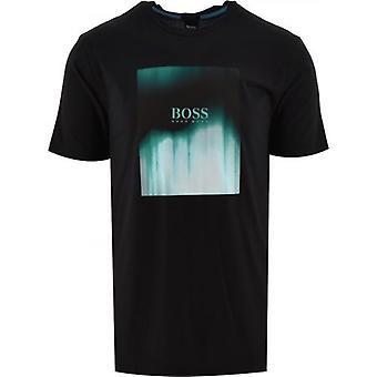 BOSS camiseta negra con estampado mixto