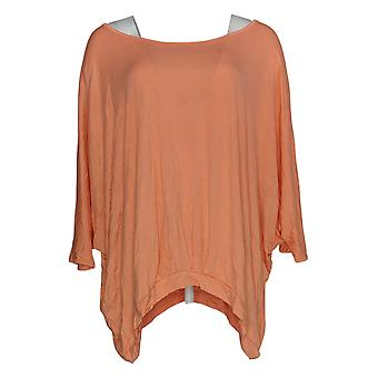 DG2 por Diane Gilman Women's Plus Top Orange Split Shoulder Rayon 677-912