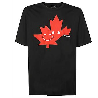 Dsquared2 Maple Leaf Emoji Slouch Fit Black T-Shirt