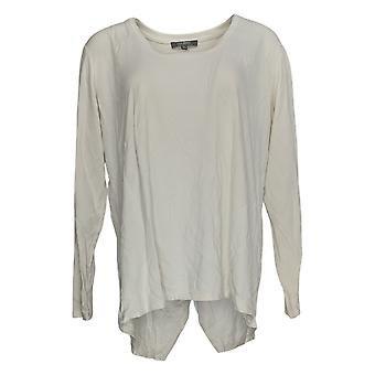 Lisa Rinna Collection Women's Top Long Slv Scoop Neck White A288541