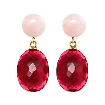 Gemshine örhängen röda kvarts ovaler, rosenkvarts cabochons i 925 silverpläterade