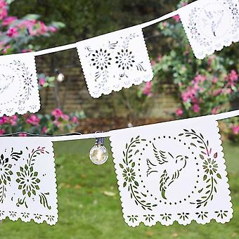 Boho Bride White Paper Bunting 4m Party Decoration