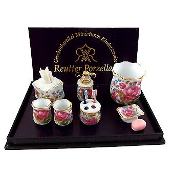 Dolls House Dresden Rose Bagno Accessori Set Reutter Porcellana Miniatura