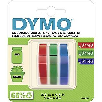 DYMO 3D 3-piece set Tape colour: Blue, Black, Red Font colour: White 9 mm 3 m