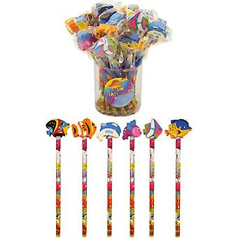 Henbrandt 24 x sealife pencils with novelty erasers toppers - wholesale bulk buy