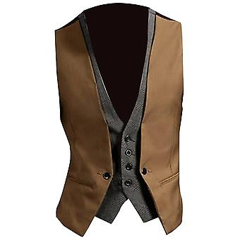 Men Formal Waistcoat Vest For Business, Solid Color, Single Button, Two-pieces