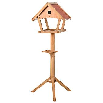 PawHut Wooden Bird Feeder Table Freestanding for Garden Backyard Outside Decorative Pre-cut Weather Resistant Roof 49 x 45 x 139 cm Natural