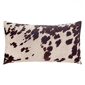 """Faux Cowhide Sueded Lumbar Pillow 22"""" X 12"""", Brown"""