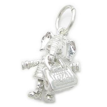 Elephant With Handbag Sterling Silver Charm .925 X 1 Elephants Charms - 4939