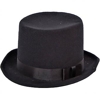 Top Hat With Bow 28 Cm Polyester Black