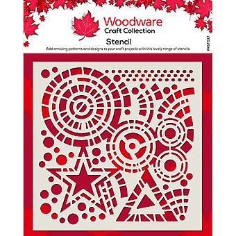 Woodware 6 x 6 Stencil - Stars and Circles