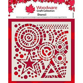 Woodware 6 x 6 Stencil - Estrellas y Círculos
