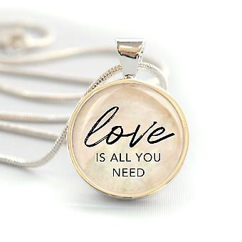"""""""love Is All You Need"""" Silver-plated Pendant Necklace (20mm)"""