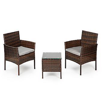 Havemøbler sæt brun - bord + 2 stole
