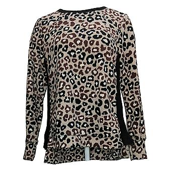 Cuddl Duds Women's Top Fleecewear Stretch Hi-Lo Crew Pullover Black A381711