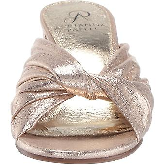 Adrianna Papell Women's Shoes Anya Fabric Open Toe Casual Mule, Gold, Size 6.5