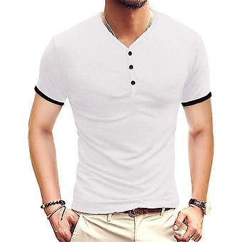 YANGFAN Mens Short Sleeve T-Shirt Buttons Placket Plain Summer Shirt