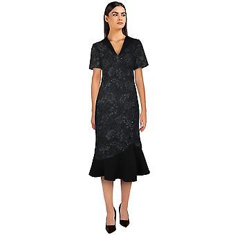 Vestido retrô de rabo de peixe estrela chique em floral preto