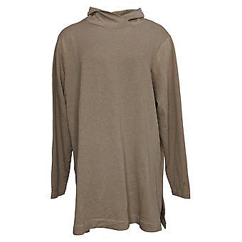 Cuddl Duds Dames's Sweater Plus Comfortwear Cowl Neck Tuniek Bruin A381691