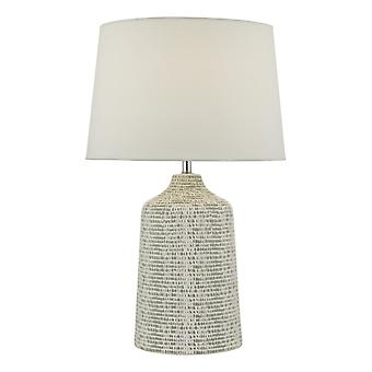 Tafellamp wit en grijs met ronde taps toelopende kap