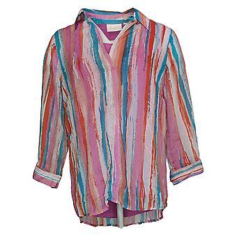Belle by Kim Gravel Women's Top Watercolor Striped Blouse Pink A376902