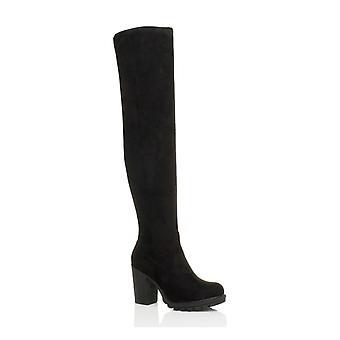 Ajvani kvinnors höga block klack chunky över knä stretch låret zip stövlar