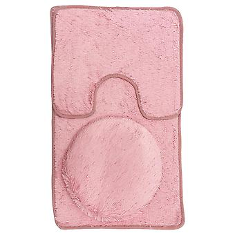 Bathroom Mats | 3 pieces | Polyester | pink