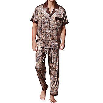 YANGFNA Herren Kurzarm Pyjamas Set gedruckt Loungewear