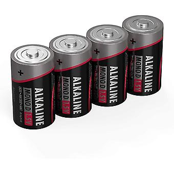D Size Batteries [Pack of 4] Long Lasting Alkaline Disposable D Type Battery For Digital Cameras,